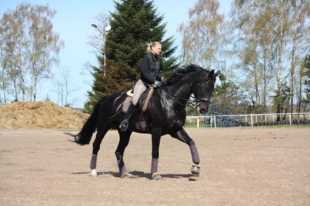 gait: Blonde woman galloping on beautiful latvian breed horse Stock Photo