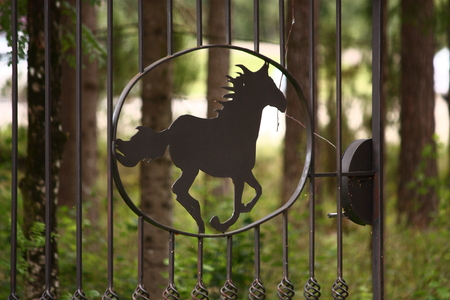 Metal fence in the shape of galloping horse - grillwork
