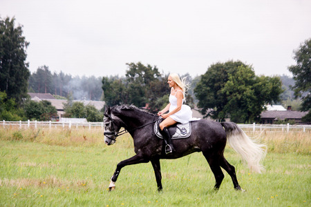 horse blonde: Beautiful blonde woman and gray horse riding at the meadow