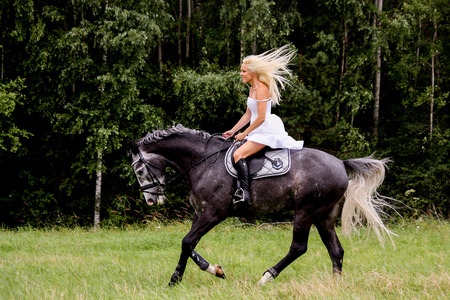 horses in field: Beautiful blonde woman and gray horse riding at the meadow