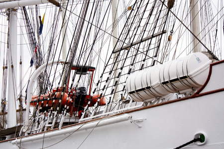 merchant: Masts and rigging of a sailing ship close up