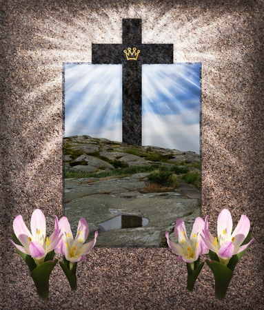 One Resurrection Cross with triumph crown, standing  on rocks  with  reflections in a puddle photo