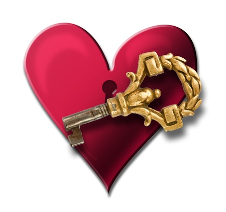 Red heart with keyhole and key Stock Photo - 12194522