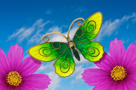 Playful and colorful summer card with flowers and  a butterfly photo