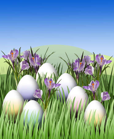 Easter egg among grass and crocus photo