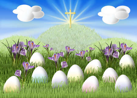 Meadow with colorful egg and a cross on a hill photo