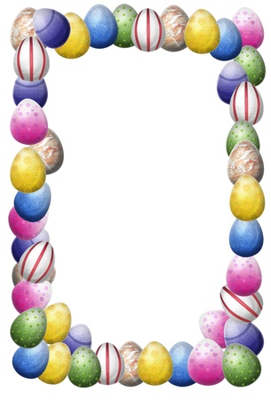 pink border: Colorful painted easter egg as a frame