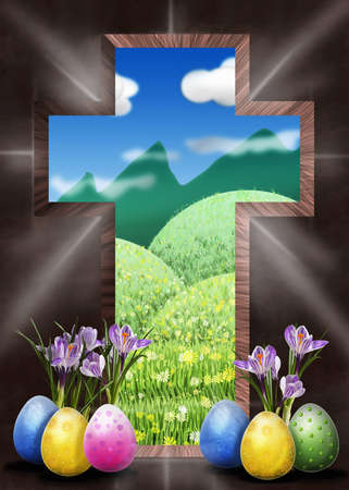 sacrificed: Dark cross open as a gate to heaven Stock Photo