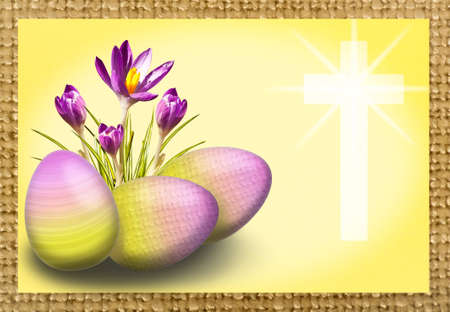 Easter background with crocus, egg and cross in yellow and purple photo