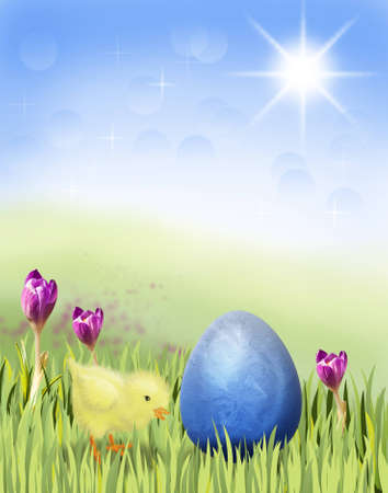 Illustration of a chicken on a spring meadow and with an easter egg illustration