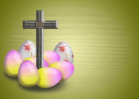 inri: Cross with INRI inscription and easter egg on a green background