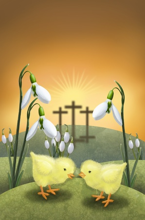 Two chicken on a meadow with snowdrops and three cross on the horizon Stock Photo
