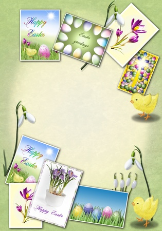 Easter background with greetingcard, chicken and snowdrops  photo