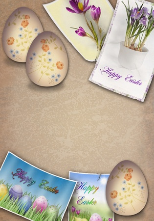 greetingcard: Grunge easter background with old eastercard and egg Stock Photo