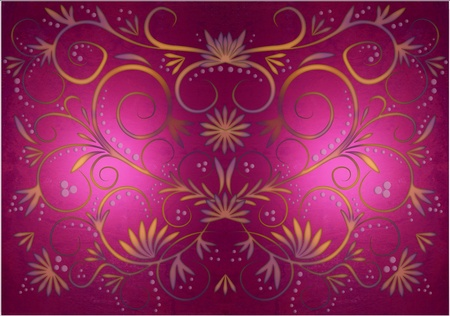 Colorful  magenta background pattern with swirl and dots orange and pink photo