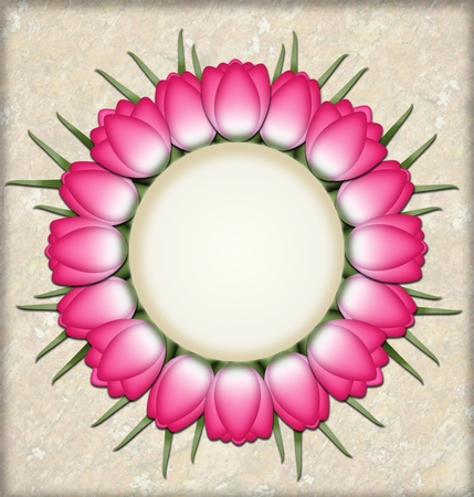 Pink tulips in a circle with space for text Stock Photo - 13323725
