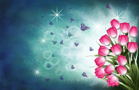Tulip bouquet on turquoise and blue background with stars butterflies bubbles photo