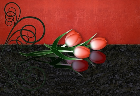 Tre red tulips  with reflection on  dark surface     photo