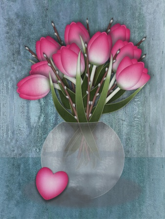 Pink tulips and willow branches in a vase and a loveheart    photo