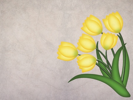 yellow grunge tulip on textured background with space for text    photo