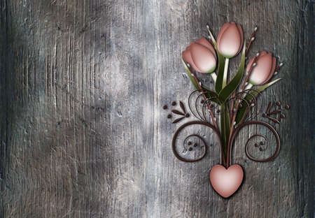 Vintage tulips willowbranches and swirl on rusty grunge metal Stock Photo - 13445221