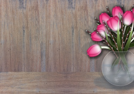 Bouquet of pink tulips and willow in a vase, textured wood background    photo