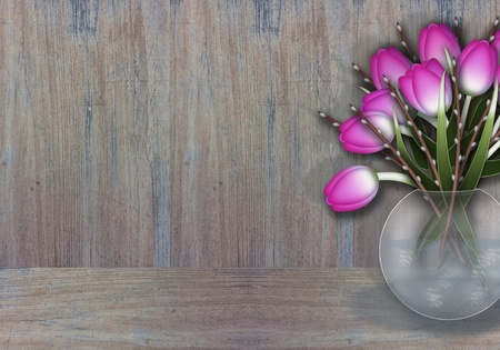 Purple tulips in a wase wooden texture background photo