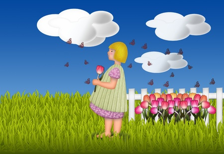 Illustration of a little girl standing in the garden with a tulip for mother on mothers day illustration