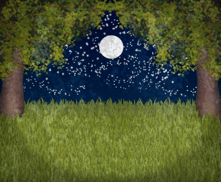 A garden in moonlight two maple trees and dark sky with moon and stars photo