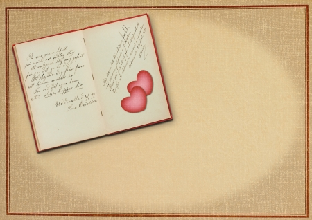 Old poetry book with lovepoem, two heart Banco de Imagens