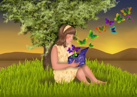 Girl sitting next to a tree with a magic box in her lap, butterflies flying out of the box