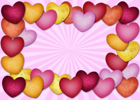 Colorful textured heart as a frame on a pink background Banco de Imagens