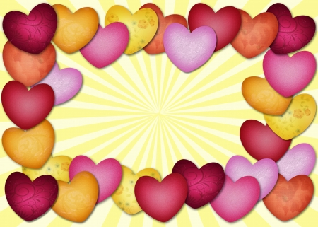 Lots of textured multicolored heart in a fram on yellow background Banco de Imagens