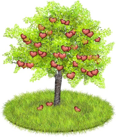 Appletree with red apples shaped like hearts conceptual for growing love Banco de Imagens
