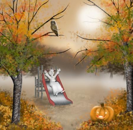 Moonlight lanterns: Ma con chơi ở sân chơi với các slide, jack o lồng đèn, con cú và cây thích với autumnleaf tại mặt đất