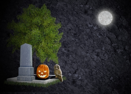 Cemetary in moonlight with grave, tombstone owl and pumpkin