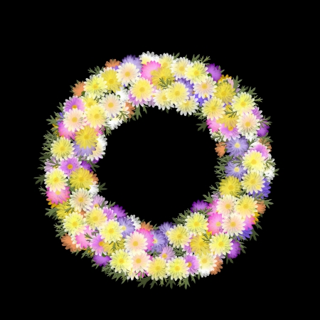 Folk art styled flower wreath of multicolored daisies and petals