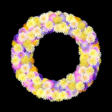 folkart: Folk art styled flower wreath of multicolored daisies