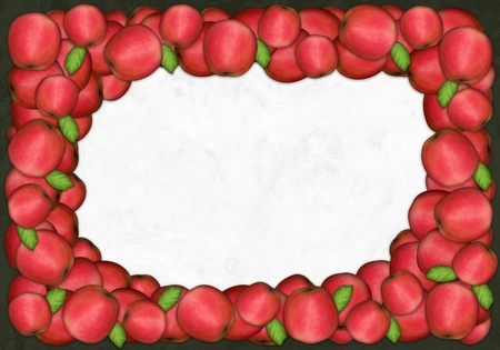 Fresh red apples in a frame textured background Banco de Imagens
