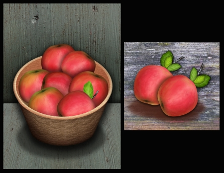 folkart: Two images of red apples on wornout wood the harvest for thanksgiving Stock Photo