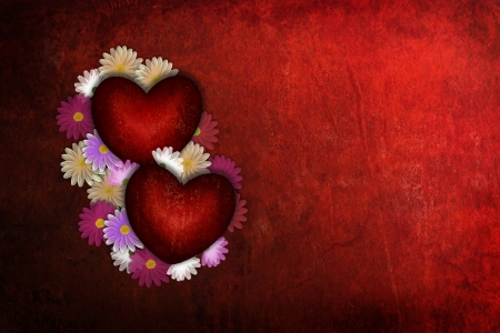 Deep red textured background with sweet flowers and two Valentine love heart