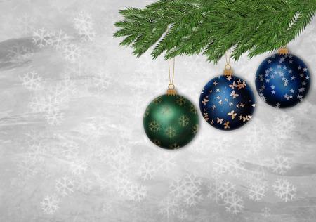 Three christmas ornament in a pine tree branch Banco de Imagens