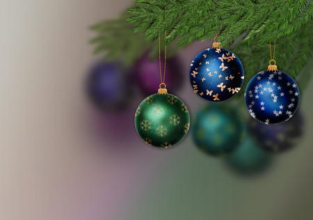Multicolored christmas ornament in a pine tree