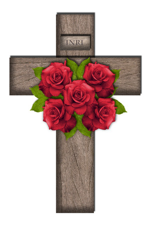 Illustration of wooden cross with five roses Banco de Imagens