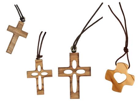 Four wooden cross isolated on white Banco de Imagens