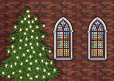 christmastree: old brick church with christmastree