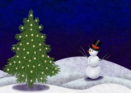Christmastree and snowman