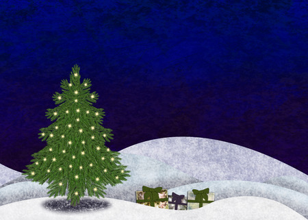 Christmastree in snowy landscape