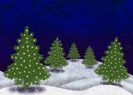 Snowy landscape with christmastrees