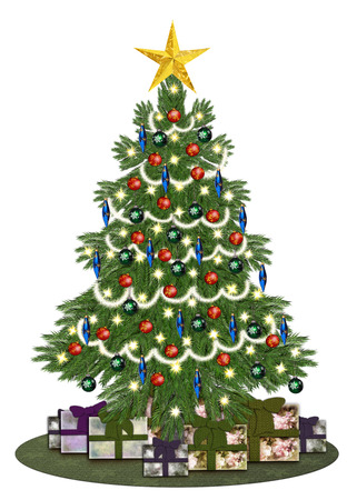 christmastree: Decorated oldstyle christmastree with gifts Stock Photo